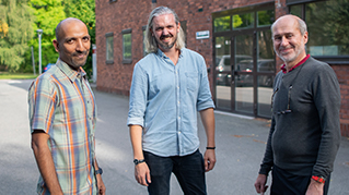 Prasath Babu, MMD's Carl Dahlberg and Valter Ström outside the lab.